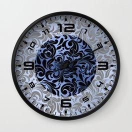 Classic Blue Swirls Damask 2 Wall Clock