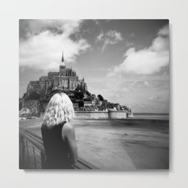 Girl Looking Upon Mont Saint-Michel in Normandy, France Metal Print