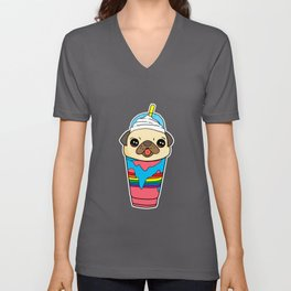 Cute & Funny Pug Puppy Dog In Smoothie Drink Unisex V-Neck