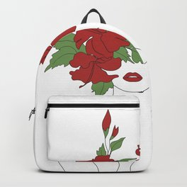 Minimal Line Art Woman with Hibiscus Backpack