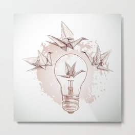 Origami paper cranes and light Metal Print