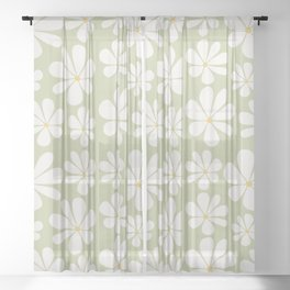 Floral Daisy Pattern - Green Sheer Curtain