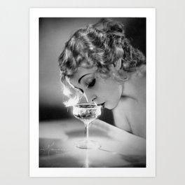 Jazz Age Blond Sipping Champagne black and white photograph / photography Art Print