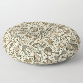 Little Cottages by the Tree in the Garden - Cute Retro Pattern -1 Floor Pillow