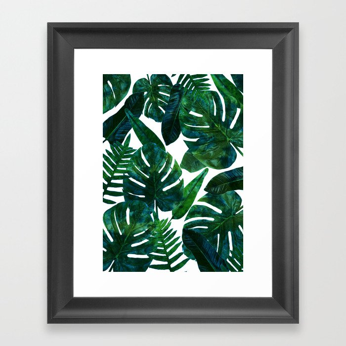 Tropical Nature Monstera Watercolor Painting, Botanical Jungle Dark Palm Illustration Gerahmter Kunstdruck