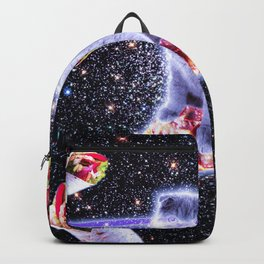 Laser Eyes Space Cat Riding Rainbow Pizza Backpack