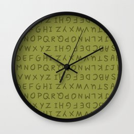 ABC in Olive Green Wall Clock