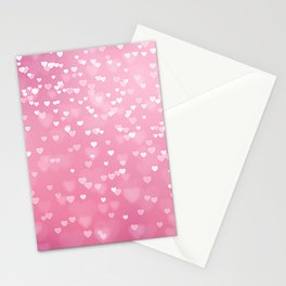 Pretty Pink Bokeh Love Hearts Stationery Cards
