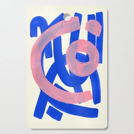 Tribal Pink Blue Fun Colorful Mid Century Modern Abstract Painting Shapes Pattern Cutting Board