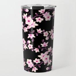 Cherry Blossom Pink Black Travel Mug