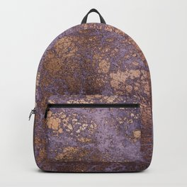 Purple and Copper Glamour Ink  Marble Texture Backpack