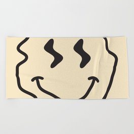 Wonky Smiley Face - Black and Cream Beach Towel