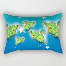 Green cartoon flying dragon pattern Rectangular Pillow