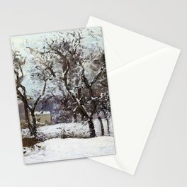 Camille Pissarro - Grounds Of The Castle Of Pont Under Snow, Louveciennes Stationery Cards