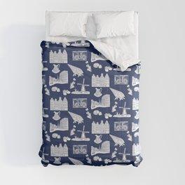 Netherlands Toille de Jouy pattern in Delft Blue background Comforters