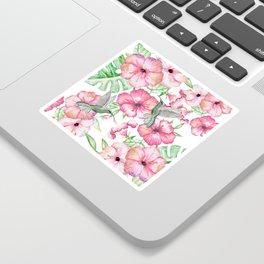 Hibiscus + Hummingbirds Pink Sticker