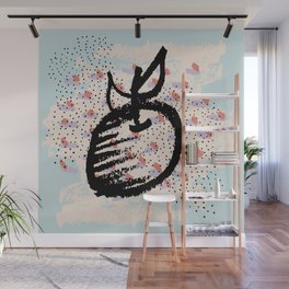 Abstract art. Brushstrokes. Apple drawing Wall Mural