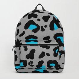 Grey & Blue Leopard Print Backpack