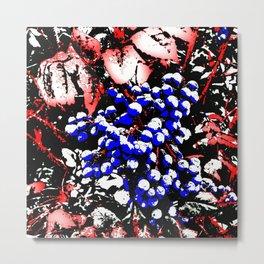 Blue Berries Retro Metal Print