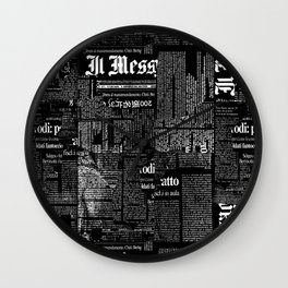 Black And White Collage Of Grunge Newspaper Fragments Wall Clock