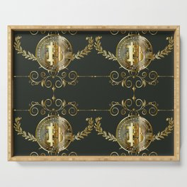 Bitcoin coin golden pattern Serving Tray