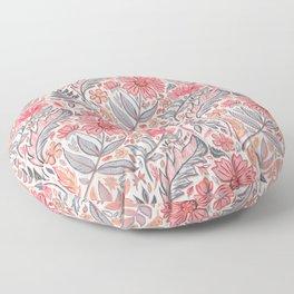 Melon Pink and Grey Art Nouveau Floral Floor Pillow