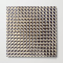 leigh - tan beige black ivory indigo geometric mosaic pattern Metal Print