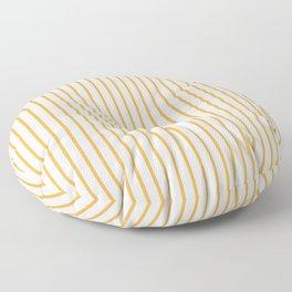 Marigold Yellow Pinstripe on White Floor Pillow