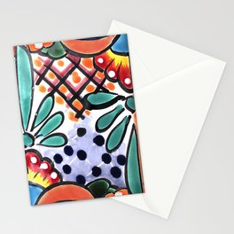 Colorful Talavera, Orange Accent, Mexican Tile Design Stationery Cards