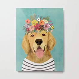 Golden Retriever Dog with Floral Crown Art Print – Funny Decoration Gift – Cute Room Decor – Poster Metal Print