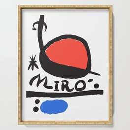 Joan Miró - L oiseau Solaire 1983 - Artwork for Prints Posters Tshirts Bags Women Men Kids Serving Tray