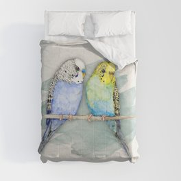 Two cute budgies watercolor Comforters