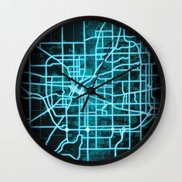 Rockford, IL, USA, Blue, White, Neon, Glow, City, Map Wall Clock