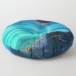 Marble Blue Mermaid Landscape Floor Pillow