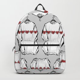 Red heart eye sweater Backpack