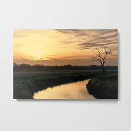 Beautiful scenic view of the sunset in the Ticino river natural park during fall Metal Print