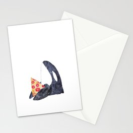 Orca whale with pizza watercolor Stationery Cards