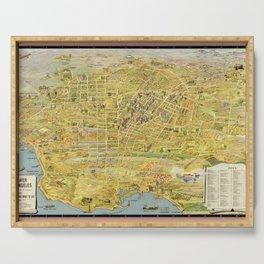 Vintage Bird's Eye Map Illustration - Greater Los Angeles, California (1932) Serving Tray