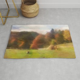 Autumn With Mountain Fox And Haystack Watercolor Rug