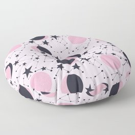 Moon and Stars in pink and blue Floor Pillow