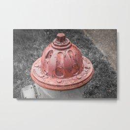 Peeling Paint Mueller Bonnet Red Fire Hydrant Texture Fireplug Super Centurion Metal Print