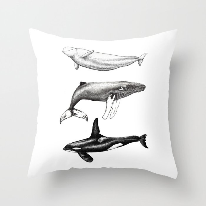 Beluga Humpback Whale And Orca Killer Whale Throw Pillow By Chloeyzoard Society6