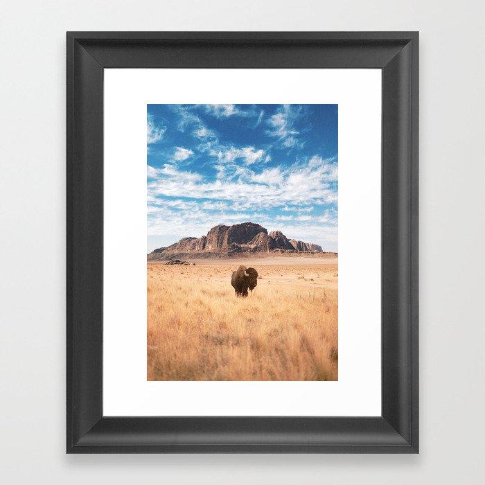 The Lonely Bison, Salt Lake City, Utah-Desert Landscape Gerahmter Kunstdruck