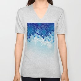Blue & White Ombre Snowflakes / Winter / Christmas Unisex V-Neck