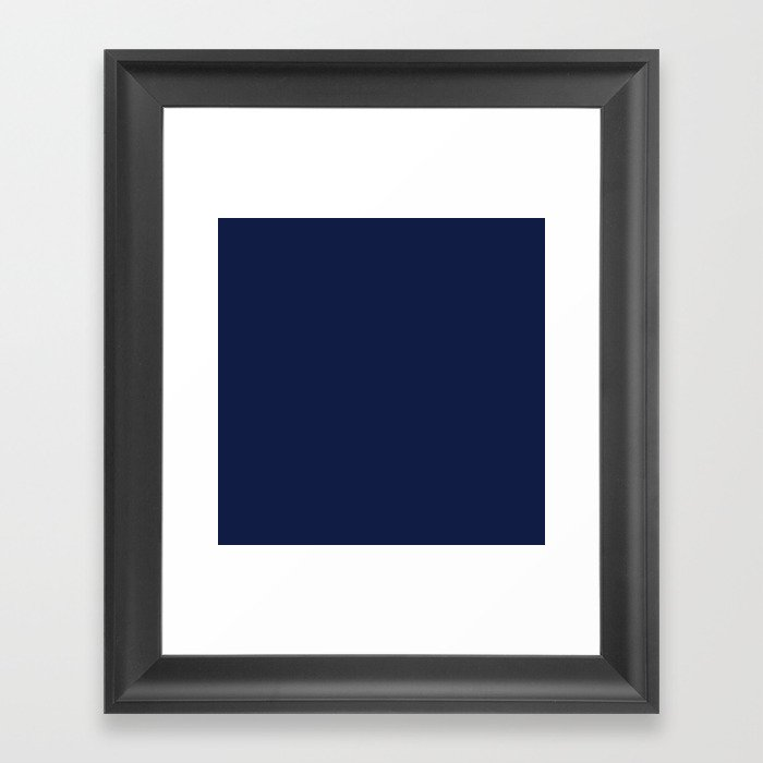 Navy Blue Minimalist Solid Color Block Spring Summer Gerahmter Kunstdruck