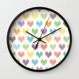 Colorful Knitted Hearts II Wall Clock