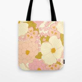 Pink Pastel Vintage Floral Pattern Tote Bag