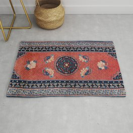Tibetan 19th Century Authentic Colorful Red Blue Tan Vintage Patterns Rug