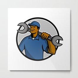 African American Mechanic Mascot Metal Print