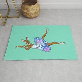 Bunny Rabbit Ballerina - Teal Blue Rug